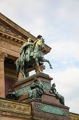 Horse sculpture at the door of the Alte Nationalgalerie in Berlin, Germany