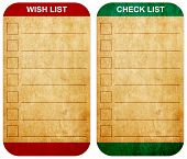 Sticky Pad Wish List And Check List Form On Old Note Paper