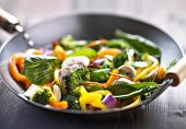 stock photo of chinese wok  - vegetarian wok stir fry - JPG