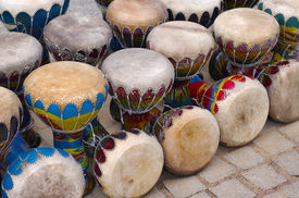 picture of congas  - Many colorful congas or hand - JPG