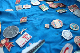 stock photo of olympiade  - Set of different Soviet badges about olympiad in Moscow 1980 - JPG