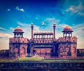 Vintage retro hipster style travel image of India travel tourism background - Red Fort (Lal Qila) Delhi - World Heritage Site. Delhi, India