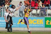 VIENNA,  AUSTRIA - MAY 26 WR Stefan Holzinger (#17 Vikings) catches the ball during the EFL football