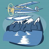 foto of float-plane  - Passenger Sea Plane is featured flying over mountain lake in this sketch - JPG