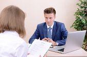 Job applicant having interview