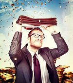 euro rain and business man