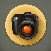 Camera icon, long shadow vector icon