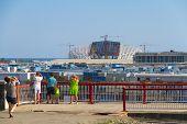 SOCHI, RUSSIA - JUNE 20, 2013: Construction of the olympic stadium