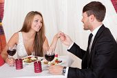 Loving Couple Enjoying A Romantic Meal