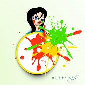 Indian festival Happy Holi celebrations concept with beautiful girl on colours splash background.
