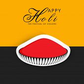 Indian festival Happy Holi celebrations concept with red colour on yellow and grey background.