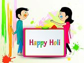 Indian festival Happy Holi celebration concept with cute young couple playing colours on colours splash background.