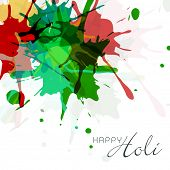 Indian festival Happy Holi concept with colours splash on abstract background.