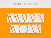 Creative stylish text Happy Holi on yellow and grey background,concept for Indian colour festival Ha
