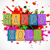 Stylish text Happy Holi on colours splash background, concept for Indian colours festival.