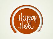 Stylish text Happy Holi on brown sticker, can be use as tag or label for Indian festival celebration.