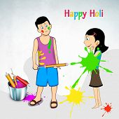 Indian festival Happy Holi celebration concept with cute kids playing colours on abstract background.