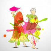 Indian color festival Happy Holi celebrations concept with illustration of young couple in traditional outfits playing with colours and dancing on splash background.