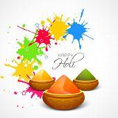 Indian festival Happy Holi celebrations concept with shiny colours on splash background.