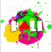 Indian festival Happy Holi concept with stylish text on colours splash background.