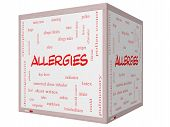 stock photo of anaphylaxis  - Allergies Word Cloud Concept on a 3D cube Whiteboard with great terms such as food pollen mold and more - JPG