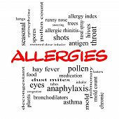 stock photo of rhinitis  - Allergies Word Cloud Concept in red caps with great terms such as food pollen mold and more - JPG
