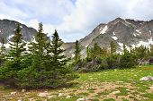 High Alpine Mountains In Rawah Wilderness, Colorado During Summer