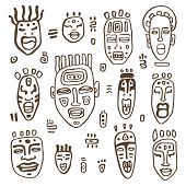 African Masks set.