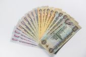 stock photo of dirhams  - UAE Dirhams assorted currency notes - JPG
