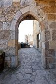 Gothic door in Sao Jorge (St. George) Castle in Lisbon, Portugal. Keep area (Castelejo). One of the