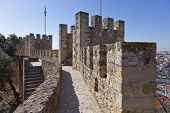 Defensive walls and towers in Sao Jorge (St. George) Castle Keep in Lisbon, Portugal. One of the lan