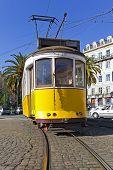 Iconic 100 year old Lisbon yellow tram. Lisbon, Portugal