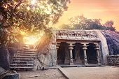 stock photo of tamil  - Ancient cave with columns in Mamallapuram complex Tamil Nadu India - JPG