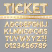 Golden Bright Broadway Alphabet And Numbers, Eps 10 Vector Editable