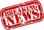 stock photo of mass media  - Grunge breaking news rubber stamp - JPG