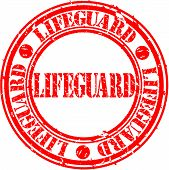 Grunge lifeguard rubber stamp, vector illustration