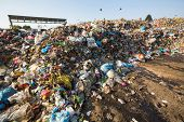 KATHMANDU, NEPAL - DEC 24: Domestic garbage in landfill, Dec 24, 2013 in KTM, Nepal. Only 35% of pop