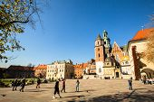 KRAKOW, POLAND - OCT 22: On territory of Royal palace in Wawel, Oct 22, 2013 in Krakow, Poland. The