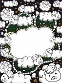 Frame Illustration Featuring a Flock of Sheep for Counting