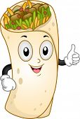 Mascot Illustration Featuring a Burrito Giving a Thumbs Up