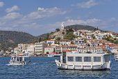 boats and Poros island port Greece