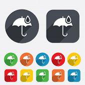 Umbrella sign icon. Water drop symbol.