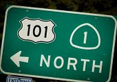 stock photo of pch  - Interstate 101 and PCH highway sign from California - JPG