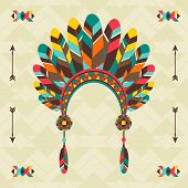 stock photo of headband  - Ethnic background with headband in navajo design - JPG