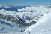 Ski Slopes And Ski Lift On Hintertux Glacier