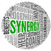 Synergy and teamwork concept in word tag cloud