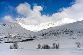 Winter Norwegian Landscape : Snowy Mountains In Troms County
