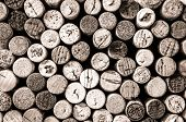Detail Of Wine Corks In Monochrome Vintage Style
