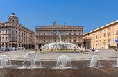 GENOA, ITALY - JUNE 30, 2012: Fountain on Piazza de Ferrari - city main square, situated between his