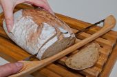 Slicing an Artisanal Loaf of Kamut Bread